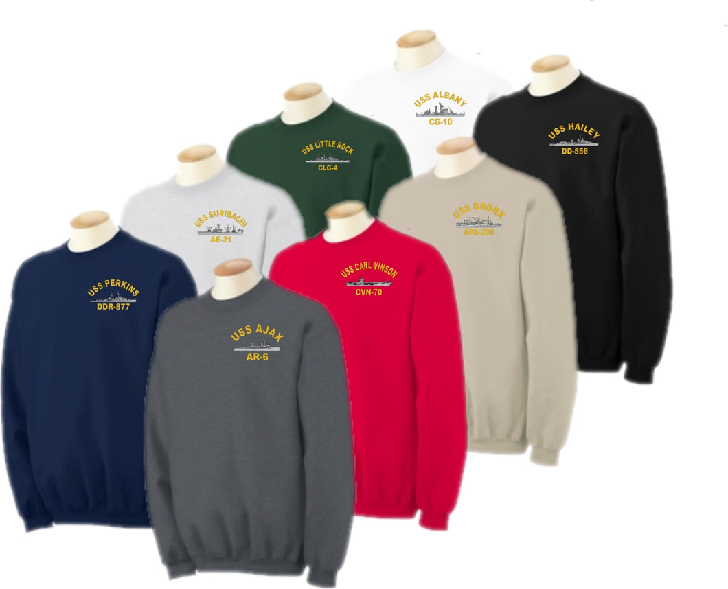 Embroidered USS Ship Sweatshirt - Custom Military Apparel & Accessories