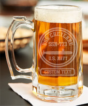 Load image into Gallery viewer, Custom USS Ship Etched Beer Stein - Custom Military Apparel & Accessories