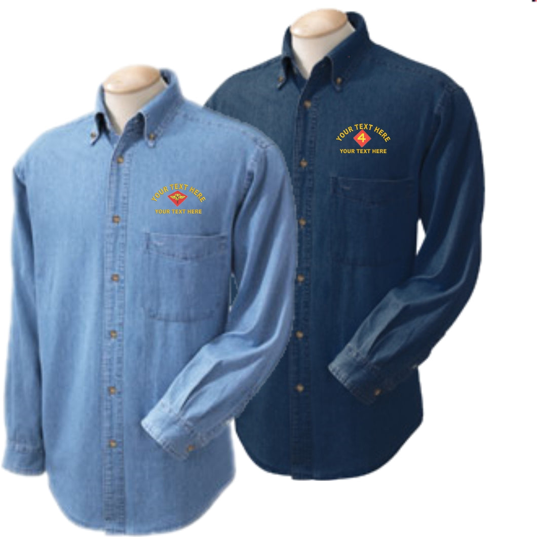 Custom Embroidered USMC Denim Shirt - Custom Military Apparel & Accessories