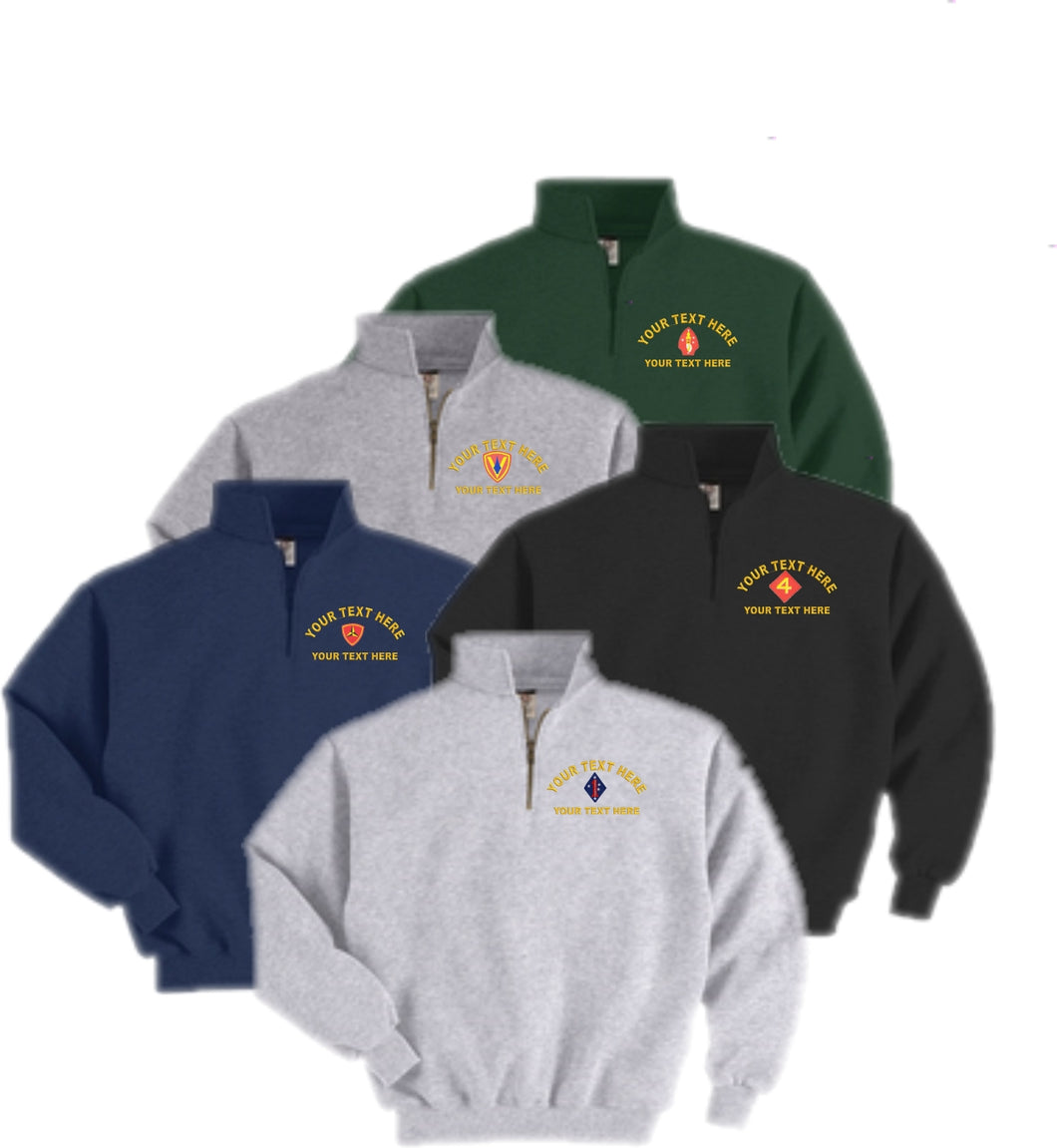 Embroidered U.S. Marine Corps Quarter-Zip Sweatshirt - Custom Military Apparel & Accessories