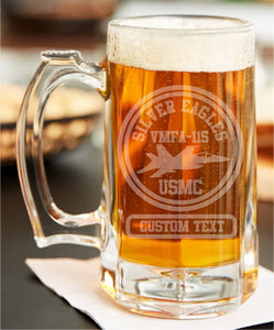 Custom Etched Warbird Beer Stein - Custom Military Apparel & Accessories