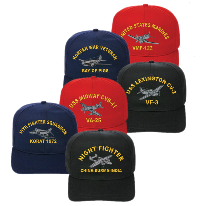 Adjustable Fit Direct Embroidered Custom Warbird Cap - Custom Military Apparel & Accessories