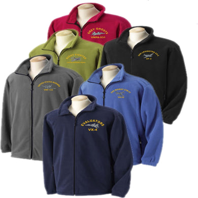 Custom Embroidered WARBIRD Fleece Jacket - Full Zip - Custom Military Apparel & Accessories
