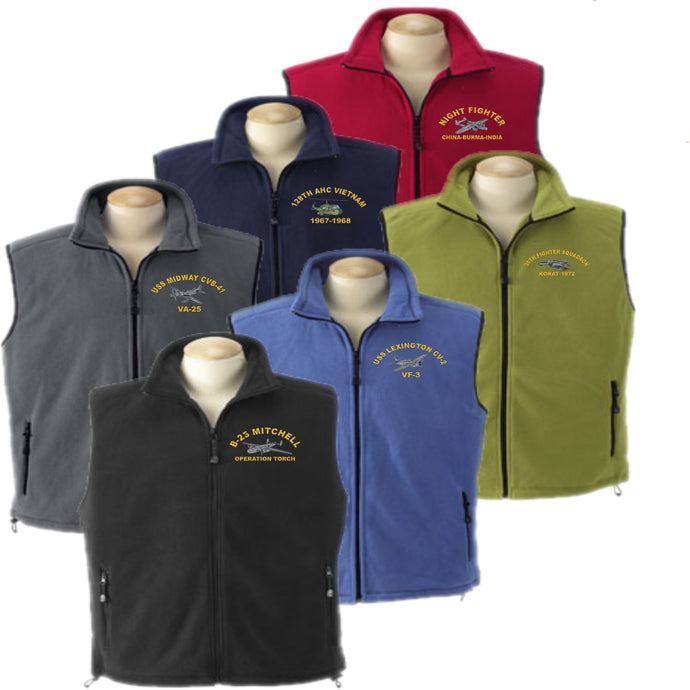 Custom Embroidered WARBIRD Fleece Vest - Full Zip - Custom Military Apparel & Accessories