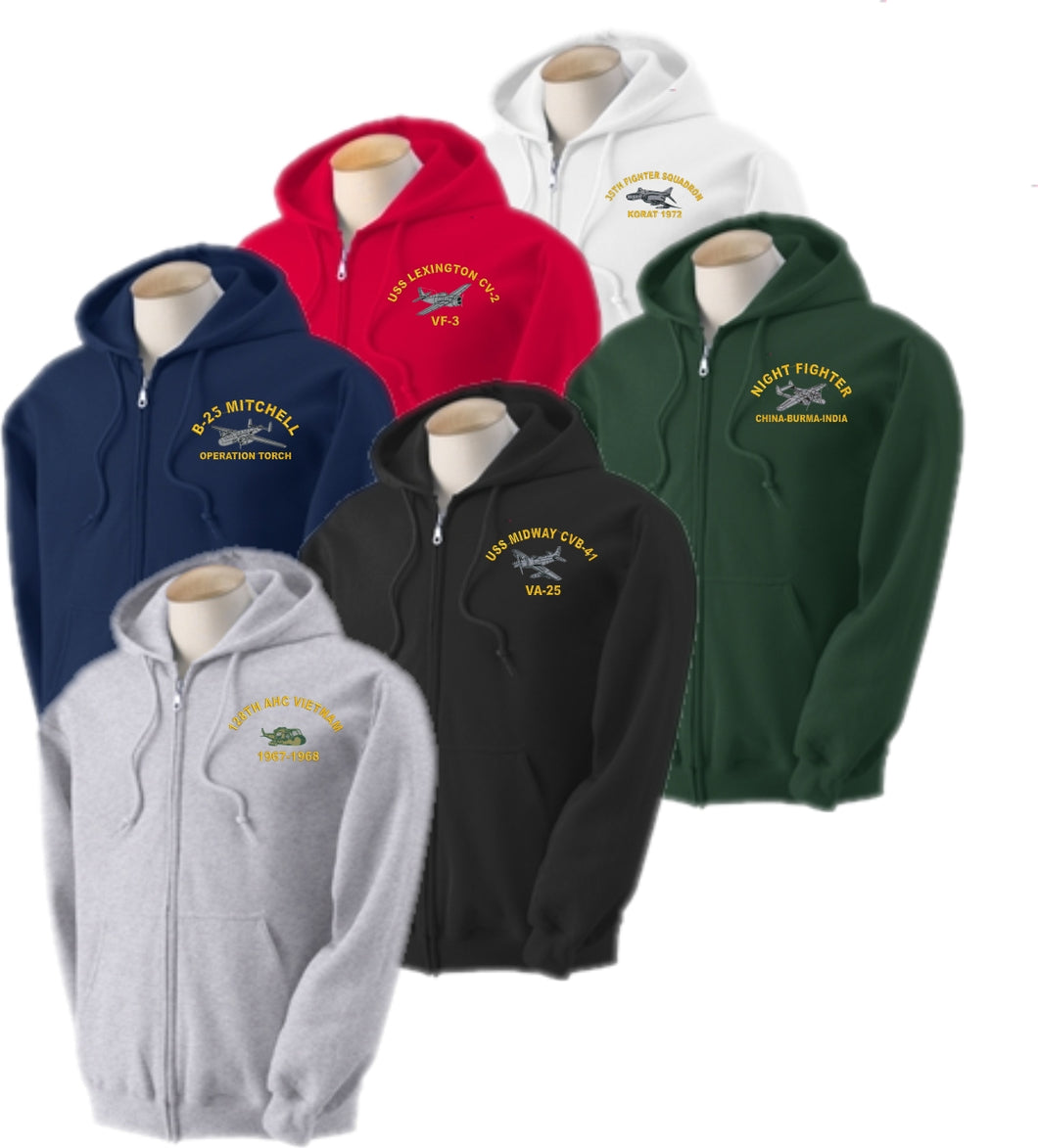Custom Embroidered WARBIRD Hooded Sweatshirt - Full Zip - Custom Military Apparel & Accessories