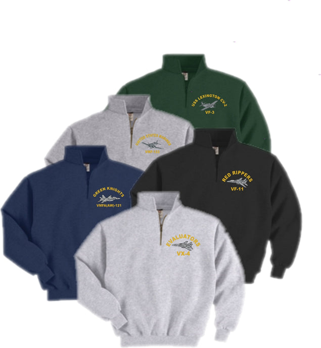 Custom Embroidered WARBIRD Quarter-Zip Sweatshirt - Custom Military Apparel & Accessories