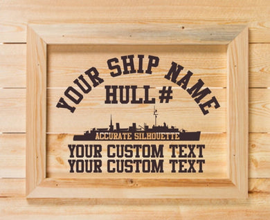 Custom Laser Etched 16 x 20 Ship Wall Hanging - Custom Military Apparel & Accessories