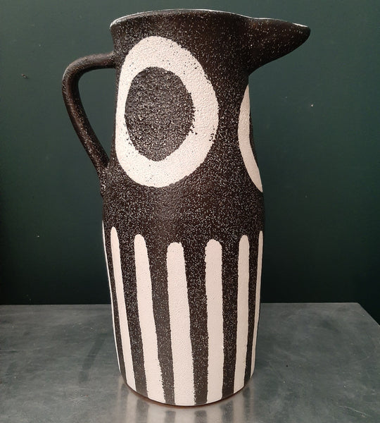 LARGE Ceramic Pottery Tribal Jug Monochrome