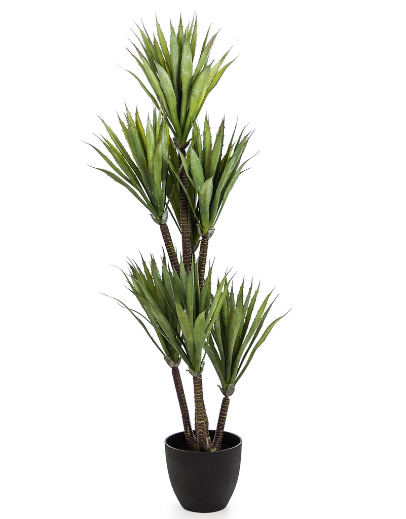 Large Faux Yucca Tree in Black Pot