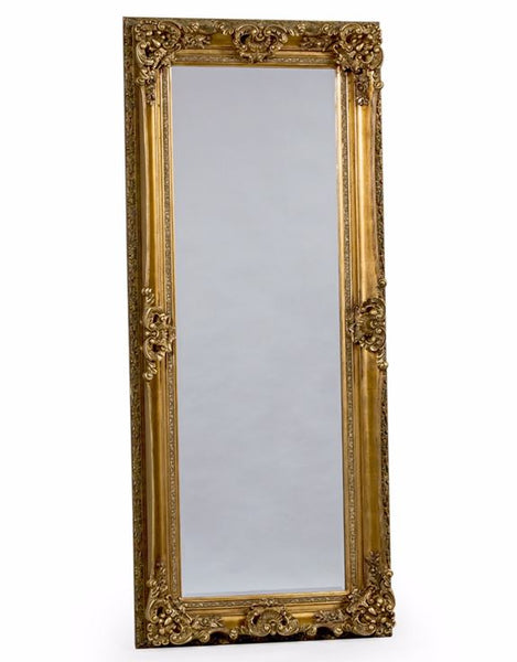 tall gold ornate leaner wall freestanding mirror 195cm x 85cm
