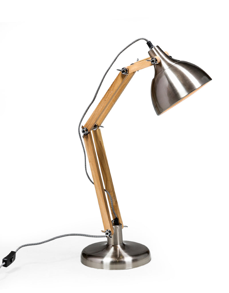brished steel anglepoise table lamp