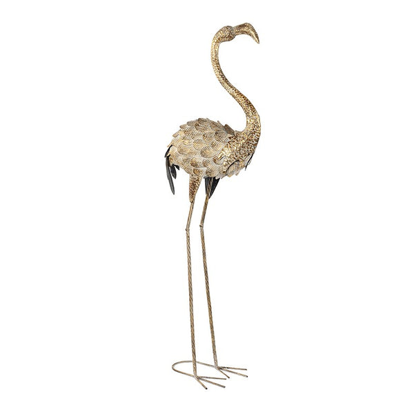 EXTRA TALL FLOOR STANDING GOLD FLAMINGO