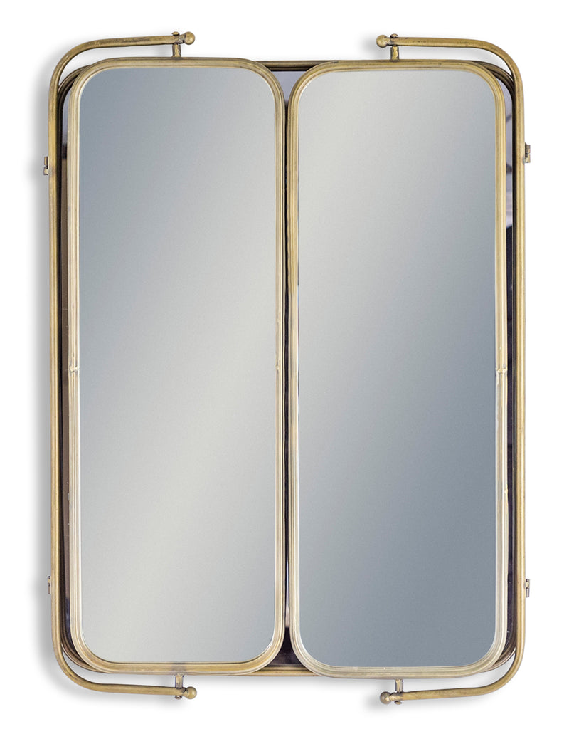 Gold Industrial Large 3 Fold Mirror