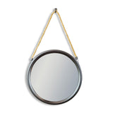 Medium Round Black Mirror on Hanging Rope