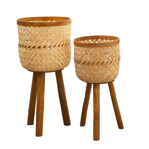 Bamboo and Rattan Planters - Set of 2