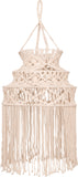 large tiered fair trade handmade natural macrame lamp shade 50cm x 122cm