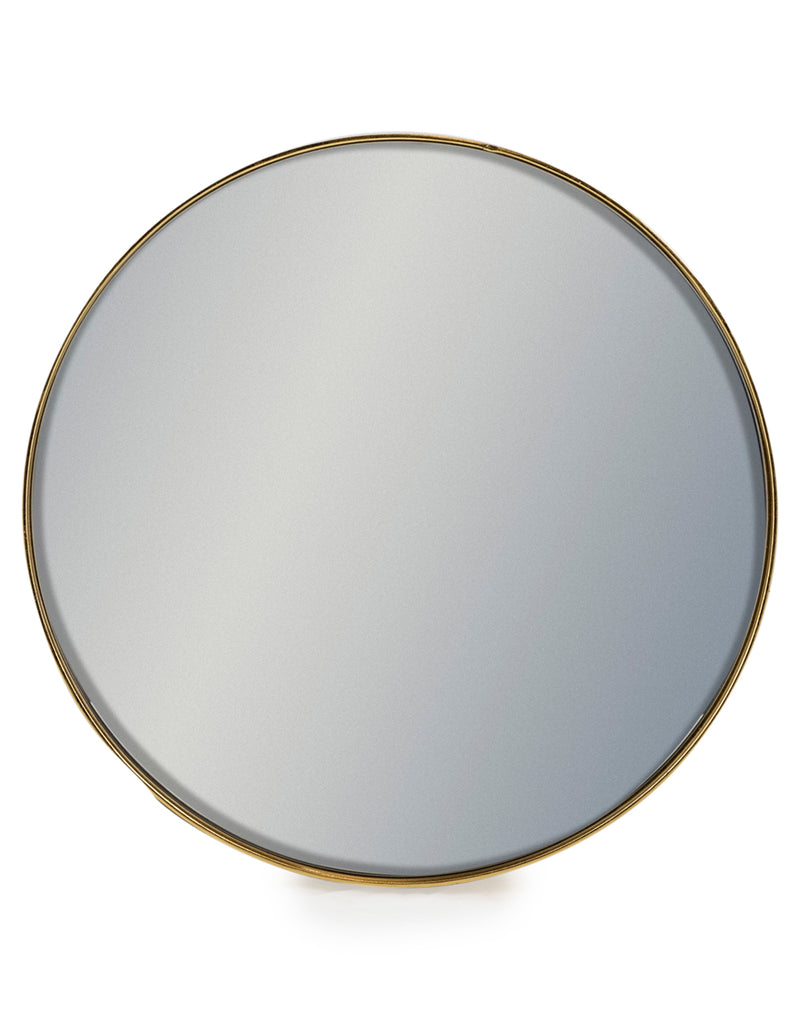 SMALL ROUND GOLD MIRROR FLAT FRAME