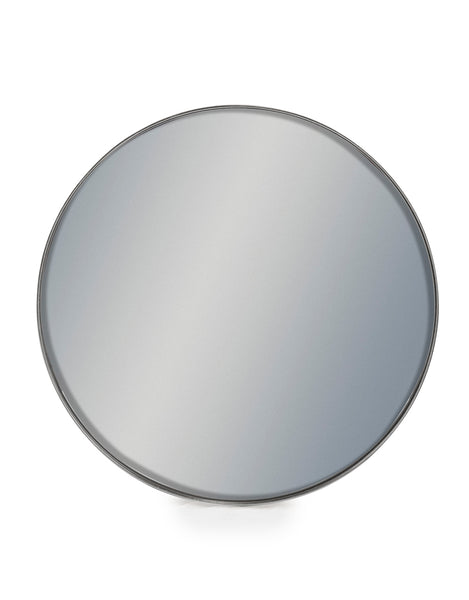 SMALL ROUND SILVER MIRROR FLAT FRAME