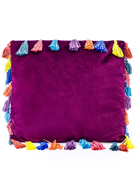 aubergine purple large square velvet cushion with tassels 50cmx 50cm