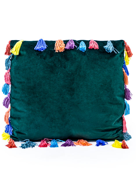 large square 50m x 50cm fern green velvet cushion with tassels