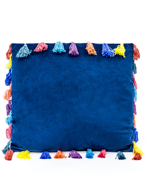 Large Square Navy Blue Velvet Cushion with Tassels