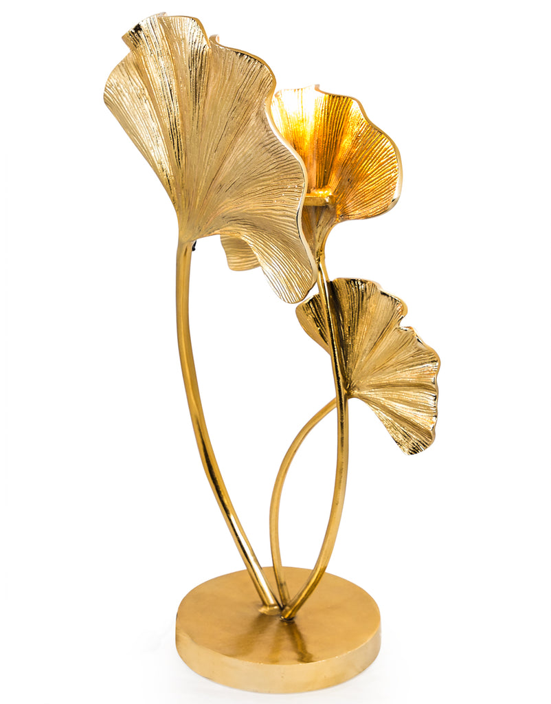 Large Gilded Aluminium Ginko Leaf Table Lamp - PRE ORDER NOW