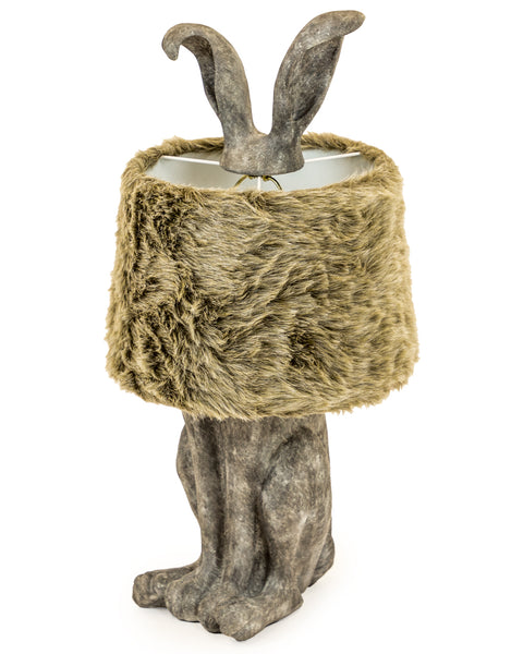 grey rabbit lamp with faux fur shade