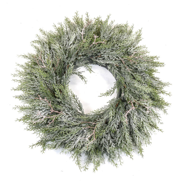 Pine Wreath with Frost 60cm