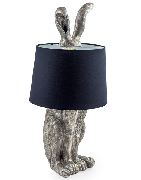 ANTIQUED SILVER RABBIT LAMP WITH BLACK SHADE