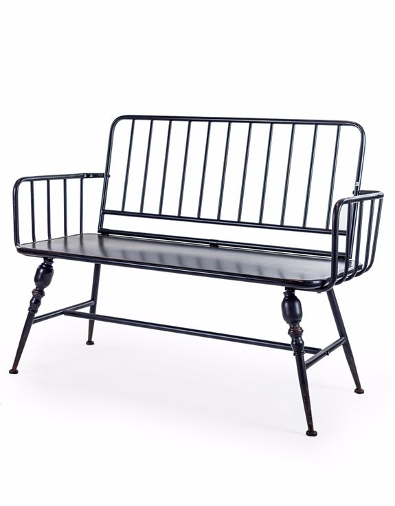 BLACK METAL BENCH ORNATE LEGS