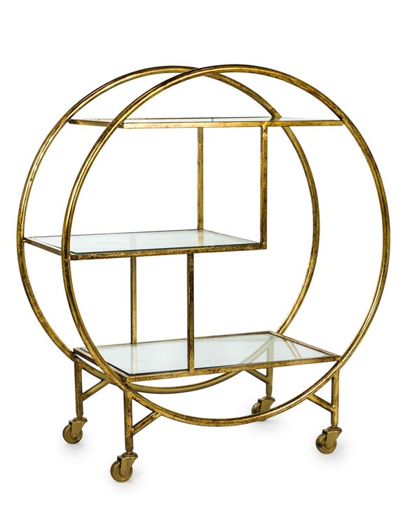ANTIQUE GOLD LEAF METAL BAR TROLLEY