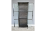 Black Metal and Fluted Glass Cabinet