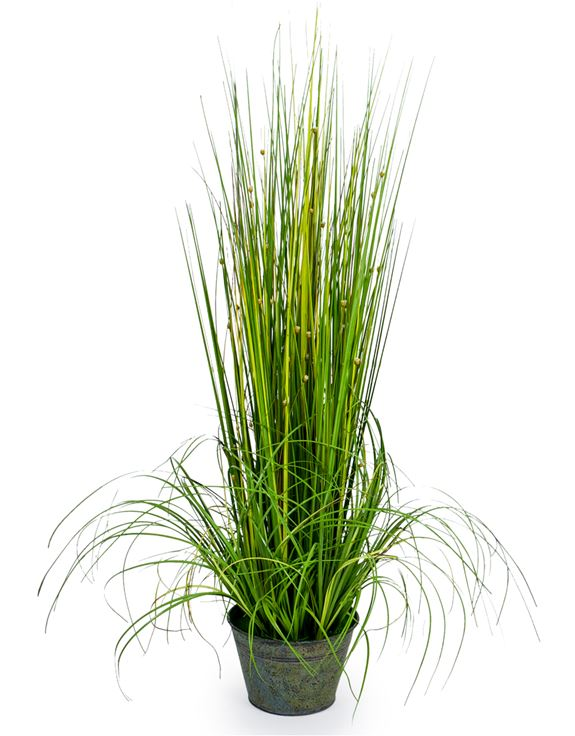 Faux Grasses in Galvanised Pot