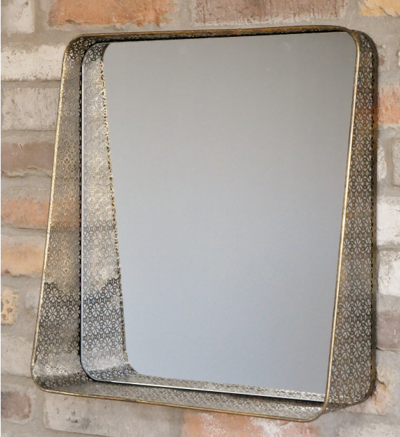gold square filagree mirror 52cm x 50cm