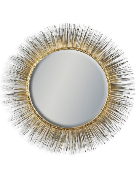 gold metal round spine mirror 77cm x 7cm x 1.5cm