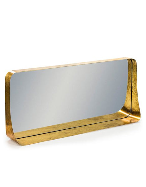Antique Gold Metal Shelf Wall Mirror - Landscape