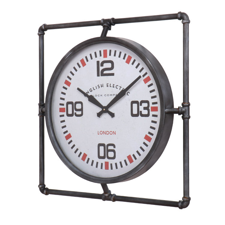 industrial wall clock with pipe frame 63cm x 63cm x 7cm depth