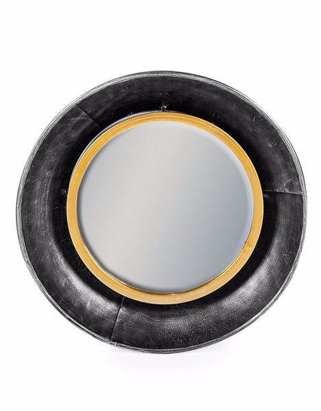 round metal black gold wall mirror 44cm x 44cm