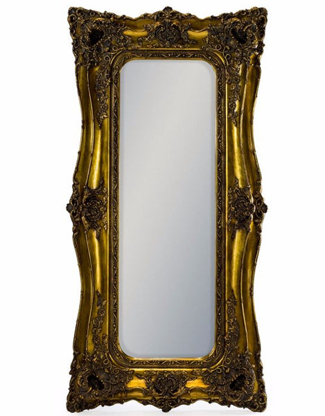 tall gold ornate french style leaner mirror 180cm x 90cm