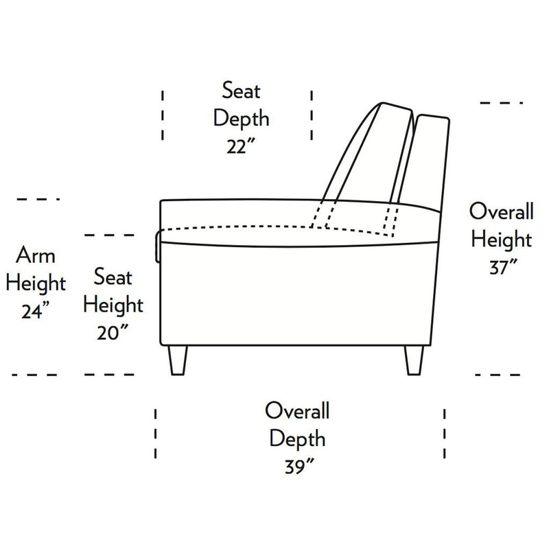Gibbs Comfort Sleeper Sofa Side Dimensions