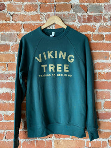 Viking Tree Stamp Logo Crewneck - Hunter Green