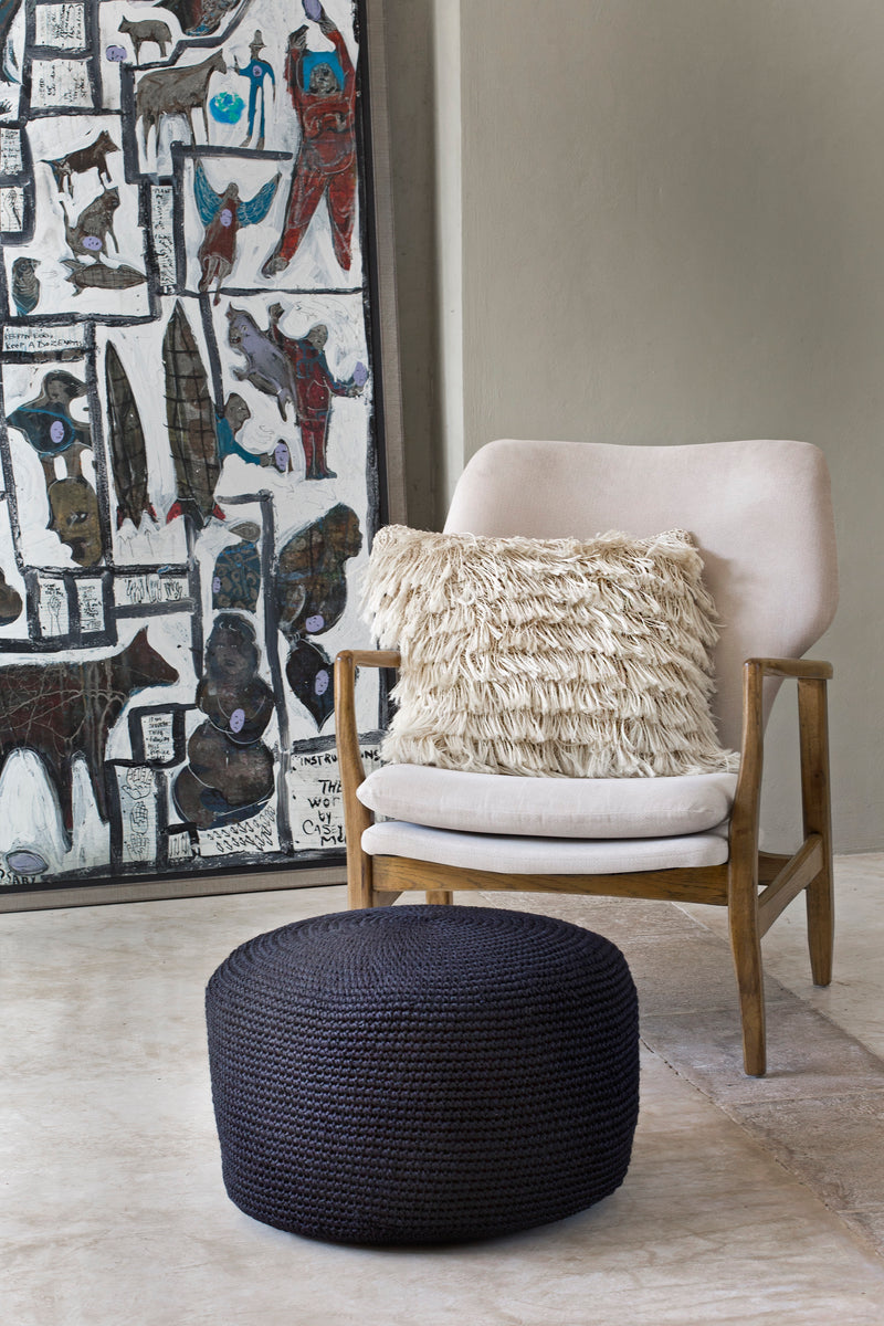 Decorative Pouf, Angela Damman black displayed | Crafthouse Store Kijkduin
