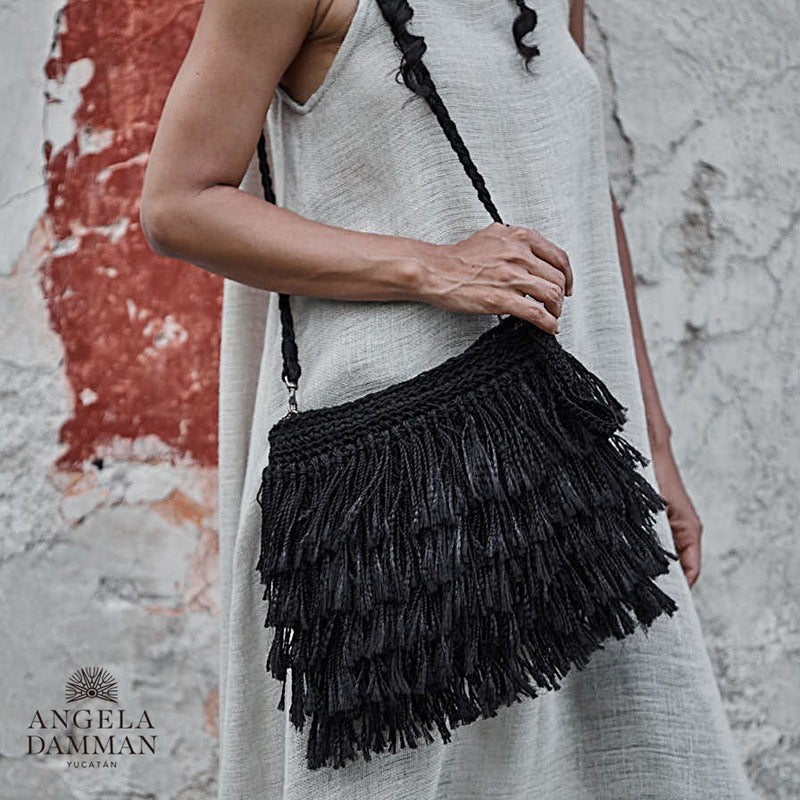 Fringe Bag Rio, Angela Damman black | Crafthouse