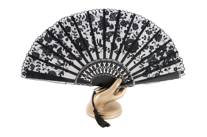 Hand Fan Bruges Black, Rockcoco close-up | Crafthouse Store Kijkduin