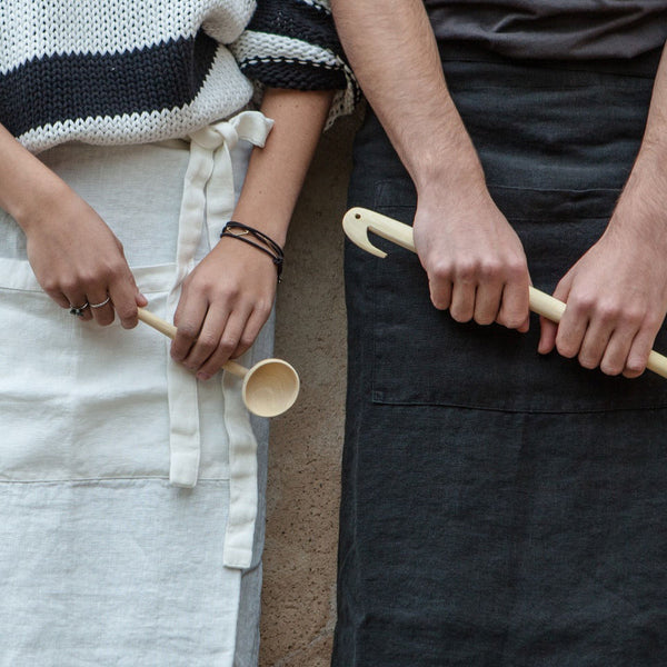Linen Coffee Aprons, Once Milano white and black | Crafthouse Store Kijkduin