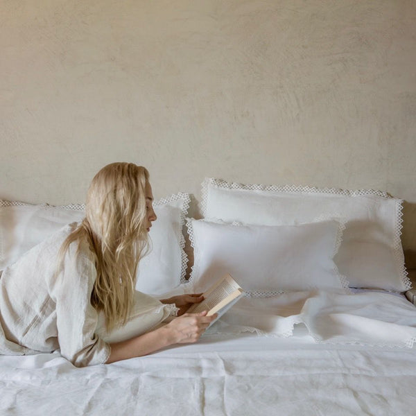 Linen Pillowcase with Macrame, Once Milano white | Crafthouse Store Kijkduin