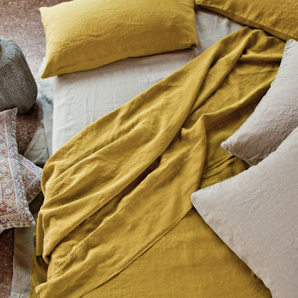 Linen Top Sheet, Once Milano yellow | Crafthouse Store Kijkduin
