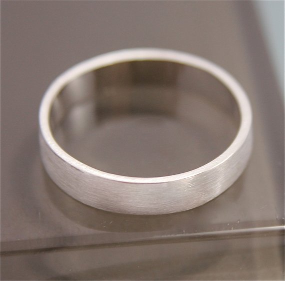 Silver Ring Flat Brushed Satin Matte Recycled Sterling Silver Rectangle 4mm Wide Basic Stacking Band Men's Wedding Ring - Ethical Brandz