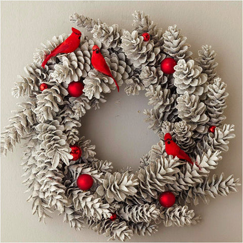 pinecone cardinal wreath