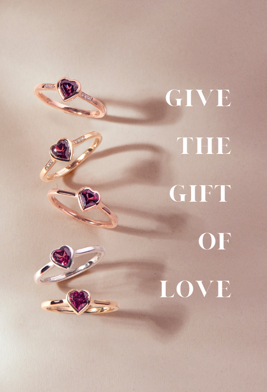 Gold Heart Rings with Gemstones , Promise Rings